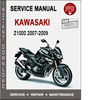 Kawasaki Z1000 2007-2009 Service Repair Manual PDF